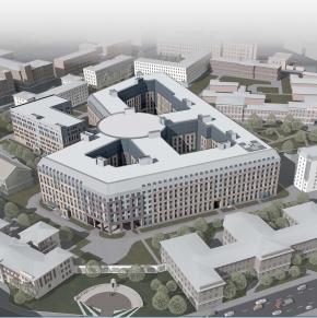 Архитектурное решение фасадов Многопрофильной клиники ВМА