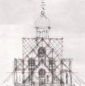 Эскиз часовни в Московской Славянке